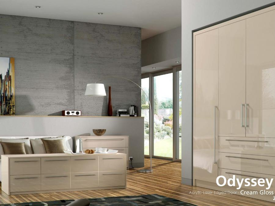 Odyssey - Acrylic Laser Edged Door - Cream Gloss