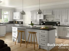 Buckingham - Five-piece Shaker Vinyl Door - Dove Grey Ash
