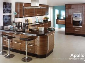 Apollo - Gloss Vinyl Wrapped Door - Dark Walnut Gloss