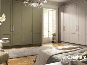 Gresham - Shaker Vinyl Wrapped Door - Olive & Stone Grey